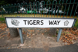 A 'Tigers Way' road sign outside the ground - Photo mandatory by-line: Rogan Thomson/JMP - 07966 386802 - 06/09/2014 - SPORT - RUGBY UNION - Leicester, England - Welford Road Stadium - Leicester Tigers v Newcastle Falcons - Aviva Premiership.