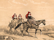 Women firewood sellers from Bareges, French Pyrenees, riding their horses home having sold all their wood.  The wood was carried in the crooks on the sides of the horses.  Tinted lithograph from 'Nouvelles Suite de Costumes des Pyrenees' (Paris, c1840).