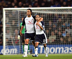 MANCHESTER, ENGLAND - WEDNESDAY, JANUARY 4th, 2006: Tottenham Hotspur's Mido celebrates scoring the opening goal against Manchester City with hi team-mate Aaron Lennon during the Premiership match at the City of Manchester Stadium. (Pic by David Rawcliffe/Propaganda)