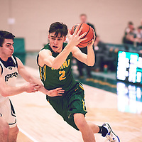 4th year guard, Samuel Hillis (2) of the Regina Cougars during the Men's Basketball Home Game on Sat Feb 02 at Centre for Kinesiology,Health and Sport. Credit: Arthur Ward/Arthur Images