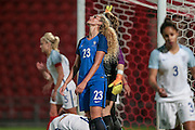 Kheira Hamraoui (France) looks to the sky having missed a chance to give France the lead during the International Friendly match between England Women and France Women at the Keepmoat Stadium, Doncaster, England on 21 October 2016. Photo by Mark P Doherty.