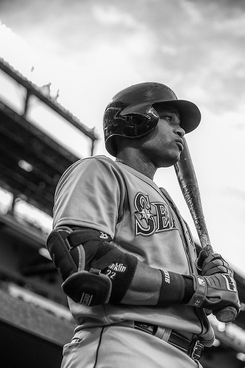 BALTIMORE, MD - MAY 20:  (EDITORS NOTE: Image has been converted to black and white) Robinson Cano #22 of the Seattle Mariners looks on during the game against the Baltimore Orioles at Oriole Park at Camden Yards on May 20, 2015 in Baltimore, Maryland. (Photo by Rob Tringali) *** Local Caption *** Robinson Cano