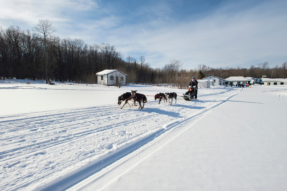 A mushing or sled dog driving class at the Michigan Department of Natural Resources Becoming an Outdoors Woman program at Bay Cliff Health Camp in Big Bay, Michigan.