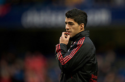 LONDON, ENGLAND - Sunday, February 6, 2011: Liverpool's new signing Luis Alberto Suarez Diaz warms-up before the Premiership match against Chelsea at Stamford Bridge. (Photo by David Rawcliffe/Propaganda)