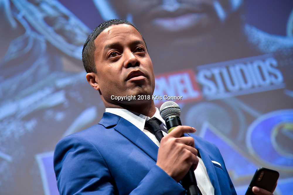 "The Washington Post's David Betancourt joins director Ryan Coogler, costume designer Ruth Carter, and executive producer Nate Moore in conversation before a special advance screening of ""Black Panther"" on Sunday, February 11 at the National Museum of African American History of Culture in Washington, D.C. (Photo by Kris Connor for Disney)"
