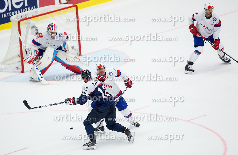 Marian Gaborik of Slovakia vs Mats Trygg of Norway and Lars Haugen of Norway during Ice Hockey match between Slovakia and Norway at Day 6 in Group B of 2015 IIHF World Championship, on May 6, 2015 in CEZ Arena, Ostrava, Czech Republic. Photo by Vid Ponikvar / Sportida