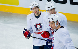 David Rodman, Ziga Pavlin and Marcel Rodman during practice session of Slovenian National Ice Hockey team first time in Arena Stozice before 2012 IIHF World Championship DIV I Group A in Slovenia, on April 13, 2012, in Arena Stozice, Ljubljana, Slovenia. (Photo by Vid Ponikvar / Sportida.com)