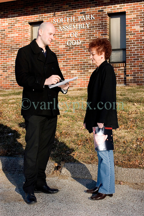 19 Jan, 2006. Eminem's maternal grandmother Betty Kresin interviewed by the Daily Mirror's Ryan Parry outside The South Park assembly of God near St Joseph, Kansas. A small rural church where rap star Marshall Bruce Masthers III, aka Eminem first married Kim in 1999. Betty is sad and upset that her grandson did not invite her to his recent wedding and re-marriage to Kim in 2006.<br /> Photo; Charlie Varley/varleypix.com