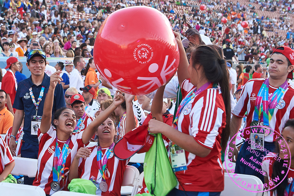 SO Paraguay Team while Closing Ceremony of the Special Olympics World Games Los Angeles 2015 at the Los Angeles Coliseum Stadium on ninth day, August 2, 2015 in Los Angeles, USA.<br /> <br /> USA, Los Angeles, August 2, 2015<br /> <br /> Picture also available in RAW (NEF) or TIFF format on special request.<br /> <br /> For editorial use only. Any commercial or promotional use requires permission.<br /> <br /> Adam Nurkiewicz declares that he has no rights to the image of people at the photographs of his authorship.<br /> <br /> Mandatory credit:<br /> Photo by &copy; Adam Nurkiewicz / Mediasport