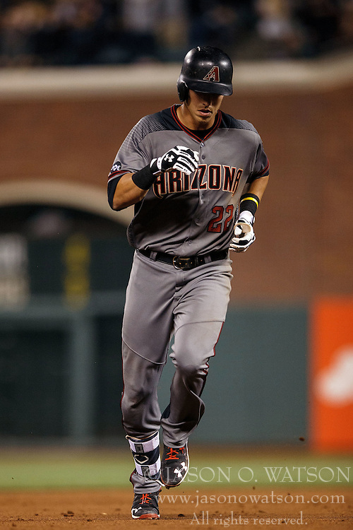 SAN FRANCISCO, CA - APRIL 18: Jake Lamb #22 of the Arizona Diamondbacks rounds the bases after hitting a home run against the San Francisco Giants during the ninth inning at AT&T Park on April 18, 2016 in San Francisco, California. The Arizona Diamondbacks defeated the San Francisco Giants 9-7 in 11 innings.  (Photo by Jason O. Watson/Getty Images) *** Local Caption *** Jake Lamb
