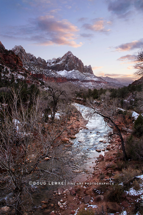 The Virgin River After A Light Snowfall During Sunset At Zion National Park, Utah, USA