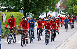 ROTTACH-EGERN, GERMANY - Thursday, July 27, 2017: Liverpool's Joel Matip, Oviemuno Ovie Ejaria and Trent Alexander-Arnold cycle to training from the Seehotel Uberfahrt on the banks of Lake Tegernsee on day two of their preseason training camp in Germany. (Pic by David Rawcliffe/Propaganda)