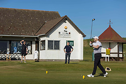Golf returns to Scotland, Dunbar, 29 May 2020 <br /> <br /> Pictured: Steven Miller has the honour of being the first golfer to tee off post lockdown. The first golfers, Steven Miller and Mike Gilmartin, tee off at Dunbar Golf Club. Players have returned to the greens as the first phase of COVID restrictions are lifted.<br /> <br /> (c) Richard Dyson | EdinburghElitemedia.co.uk 2020