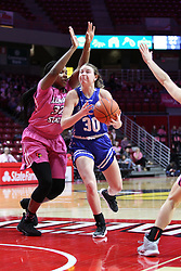 NORMAL, IL - February 10: Regan Wentland defended by Simone Goods during a college women's basketball Play4Kay game between the ISU Redbirds and the Indiana State Sycamores on February 10 2019 at Redbird Arena in Normal, IL. (Photo by Alan Look)