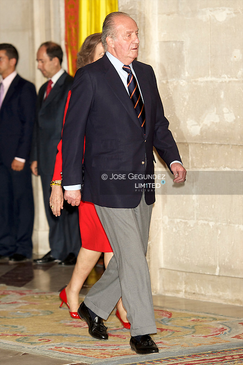"King Juan Carlos, Queen Sofia, Prince Felipe, Princess Letizia, Princess Leonor, Princess Sofia, Princess Elena attend an Audience to the National Football Team on their victory in the FIFA World Cup ""South Africa 2010 at Palacio Real in Madrid"