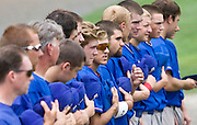 MIDDLETOWN, CT - 05 AUGUST 2010 -.East Longmeadow Post 293's team lines up on the baseball diamond on Palmer Field at the start of Thursday's American Legion Northeast Regional Tournament game in Middletown..Photo by Josalee Thrift