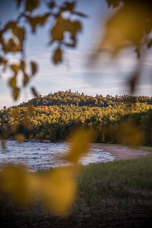 Wetmore Beach at Wetmore Landing offers a view of Sugarloaf Mountain, near Marquette, Michigan.