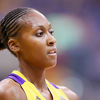 03 August 2014: Los Angeles Sparks forward/center Sandrine Gruda (7) rests during the Los Angeles Sparks 70-69 victory over the Connecticut Sun, at the Staples Center, Los Angeles, California, USA.