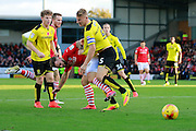 Burton's Kyle McFadzean (5) defends from a Barnsley attack during the EFL Sky Bet Championship match between Burton Albion and Barnsley at the Pirelli Stadium, Burton upon Trent, England on 5 November 2016. Photo by Richard Holmes.