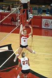 22 October 2006: Erin Lindsey sets the ball for Katie Seyller. Illinois State University swept Evansville in 3 straight games of a best of 5 match. The Evansville Purple Aces met the Redbirds of Illinois State at Redbird Arena on the campus of Illinois State University in Normal Illinois.<br />