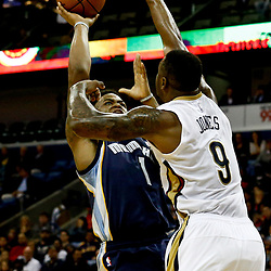 Dec 5, 2016; New Orleans, LA, USA; Memphis Grizzlies forward Jarell Martin (1) shoots over New Orleans Pelicans forward Terrence Jones (9) during the first quarter of a game at the Smoothie King Center. Mandatory Credit: Derick E. Hingle-USA TODAY Sports