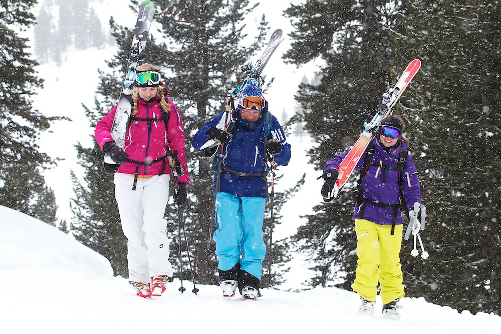 Skiing Images, Happy skiers and Guide, Kuhtai, Tirol, Austria