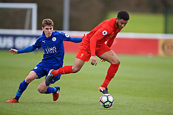 BURTON-UPON-TRENT, ENGLAND - Saturday, December 3, 2016: Liverpool's Joe Gomez in action against Leicester City during the Premier League International Cup match at St. George's Park. (Pic by David Rawcliffe/Propaganda)