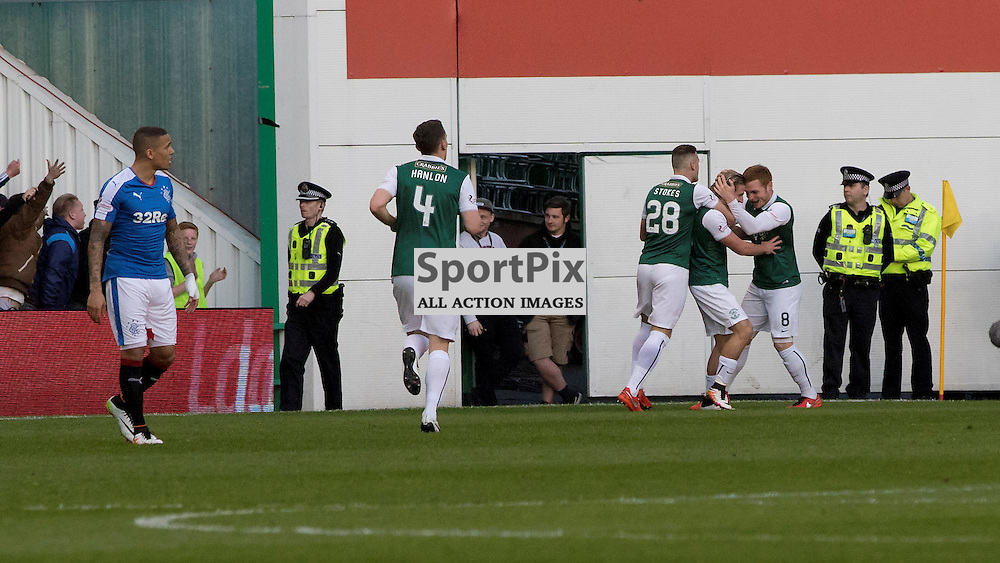 Hibernians Jason Cummings celebrates opening the scoring against the Champions..Hibernian v Rangers, Scottish Championship, 20th April 2016, (c) Paul Cram