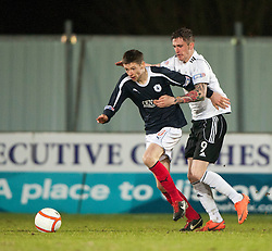 Falkirk's Conor McGrandles and Livingston's Jordan Morton..Falkirk 2 v 0 Livingston, 19/2/2013..©Michael Schofield.