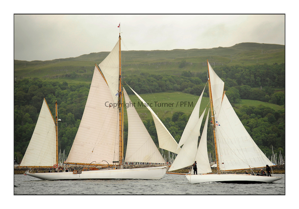 Day one of the Fife Regatta, Round Cumbraes Race.<br /> <br /> Kentra, E &amp; D Klaus, GBR, Gaff Ketch, Wm Fife 3rd, 1923<br /> Viola, Yvon Rautureau, FRA, Gaff Cutter, Wm Fife 3rd, 1908<br /> * The William Fife designed Yachts return to the birthplace of these historic yachts, the Scotland&rsquo;s pre-eminent yacht designer and builder for the 4th Fife Regatta on the Clyde 28th June&ndash;5th July 2013<br /> <br /> More information is available on the website: www.fiferegatta.com