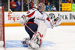 February 17, 2011; San Jose, CA, USA;  Washington Capitals goalie Michal Neuvirth (30) warms up before the game against the San Jose Sharks at HP Pavilion. Mandatory Credit: Jason O. Watson / US PRESSWIRE