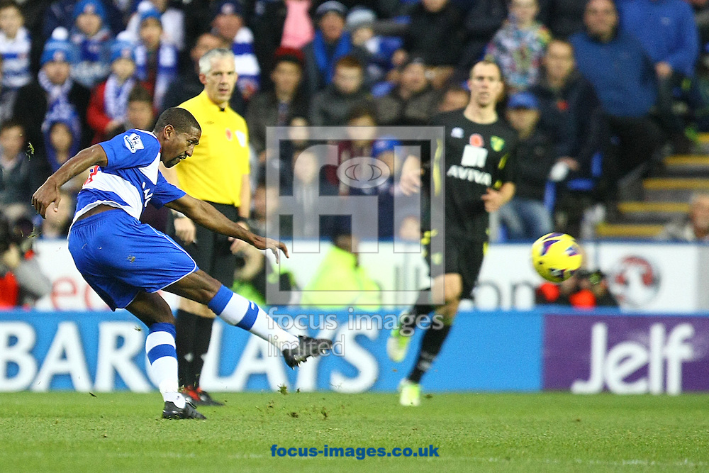 Picture by Paul Chesterton/Focus Images Ltd +44 7904 640267.10/11/2012.Mikele Leigertwood of Reading has a rare shot on goal during the Barclays Premier League match at the Madejski Stadium, Reading.