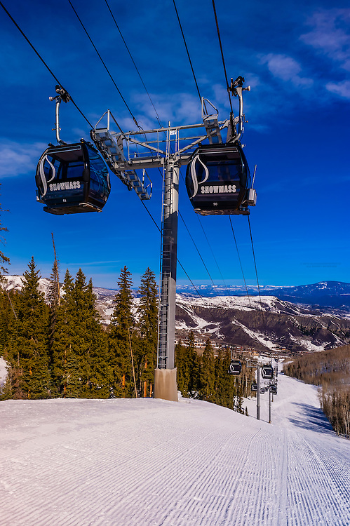 Elk Camp Gondola, Snowmass (Aspen) ski resort, Colorado USA.