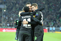 11.12.2014, Borussia Park, Moenchengladbach, GER, UEFA EL, Borussia Moenchengladbach vs FC Zuerich, Gruppe A, im Bild vl: Raffael (Borussia Moenchengladbach #11), Granit Xhaka (Borussia Moenchengladbach #34) und Branimir Hrgota (Borussia Moenchengladbach #31) beim Torjubel nach dem Treffer zum 3:0 // during the UEFA Europaleague Group A match between Borussia Moenchengladbach and FC Zuerich at the Borussia Park in Moenchengladbach, Germany on 2014/12/11. EXPA Pictures &copy; 2014, PhotoCredit: EXPA/ Eibner-Pressefoto/ Schueler<br /> <br /> *****ATTENTION - OUT of GER*****
