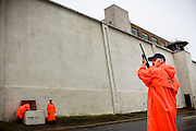 Prison guards patrol the area at the Clinton Correctional Facility in Dannemora, NY on Monday, June 8, 2015. New York State Police are searching for two inmates who escaped from the prison Friday night. (Jacob Hannah for The New York Times)