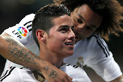04.02.2015, Estadio Santiago Bernabeu, Madrid, ESP, Primera Division, Real Madrid vs FC Sevilla, 21. Runde, im Bild James and Marcelo of Real Madrid // during the Spanish Primera Division 21th round match between Real Madrid CF and FC Sevilla at the Estadio Santiago Bernabeu in Madrid, Spain on 2015/02/04. EXPA Pictures &copy; 2015, PhotoCredit: EXPA/ Alterphotos/ CARO MARIN<br /> <br /> *****ATTENTION - OUT of ESP, SUI*****