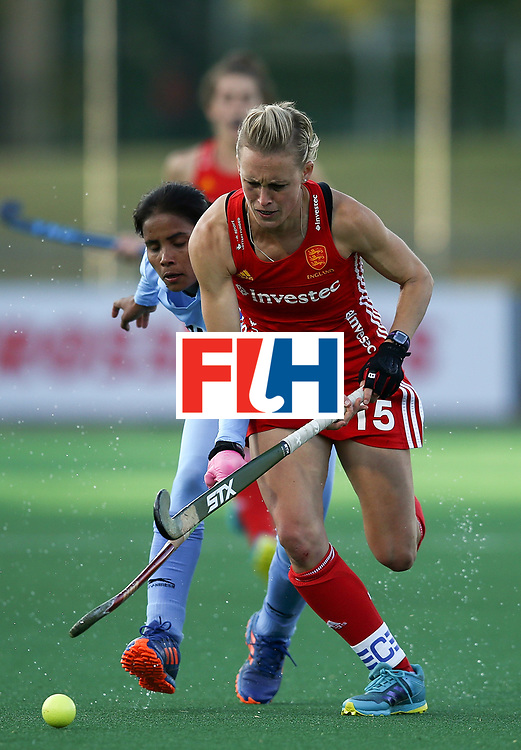 JOHANNESBURG, SOUTH AFRICA - JULY 18:  Alex Danson of England battles with Vandana Katariya of India during day 6 of the FIH Hockey World League Women's Semi Finals quarter final match between England and India at Wits Univesity on July 18, 2017 in Johannesburg, South Africa.  (Photo by Jan Kruger/Getty Images for FIH)