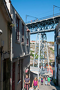 Abstract view of the frame of Ponte Luiz I (Luis I) Bridge in Porto, Portugal as seen from below