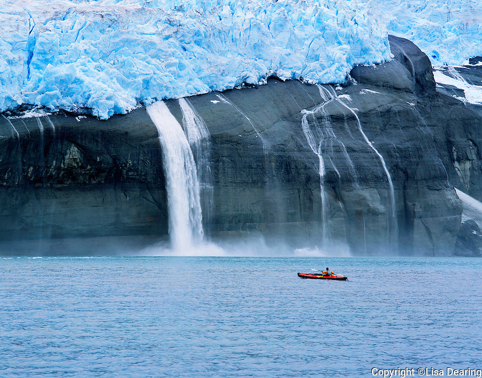 Hanging Glaciers and sea Kayaker in Icy Bay near Yakatat, Alaska in the Wrangell St. Elias Mountains