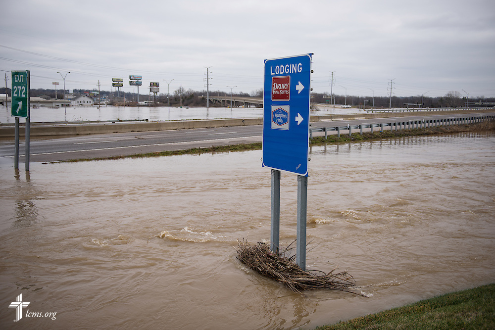 Floodwaters overtake Interstate 44 at Highway 141 near Fenton, Mo., on Thursday, Dec. 31, 2015, in St. Louis.  LCMS Communications/Erik M. Lunsford