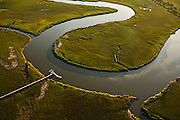 Aerial view of Morgan Creek in the marsh in Charleston, SC