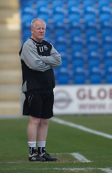 COLCHESTER, ENGLAND - Saturday, April 24, 2010: Tranmere Rovers' Manager Les Parry watches from the technical area during the Football League One match at the Western Community Stadium. (Photo by Gareth Davies/Propaganda)