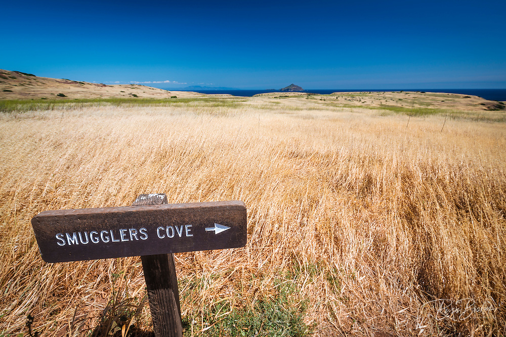 Smugglers Cove sign at Scorpion Ranch, Santa Cruz Island, Channel Islands National Park, California USA