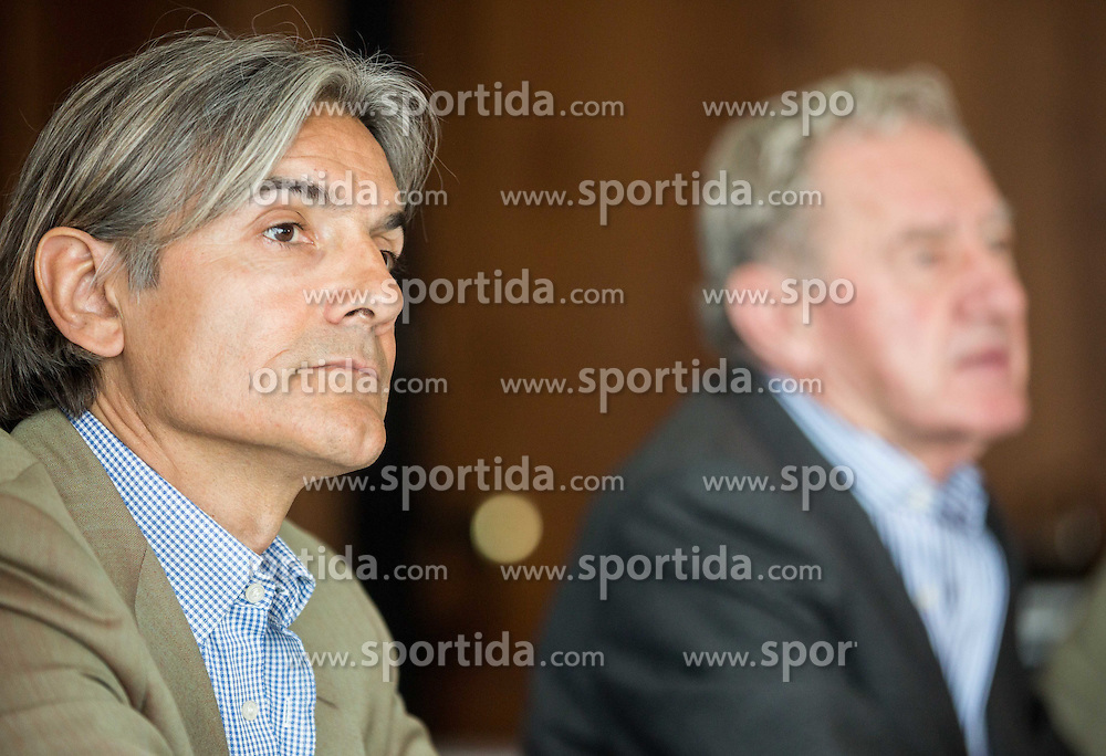 Rodolfo Vanoli and Milan Mandaric during presentation of a new head coach of NK Olimpija, on April 22, 2016 in Austria Trend Hotel, Ljubljana, Slovenia. Photo by Vid Ponikvar / Sportida