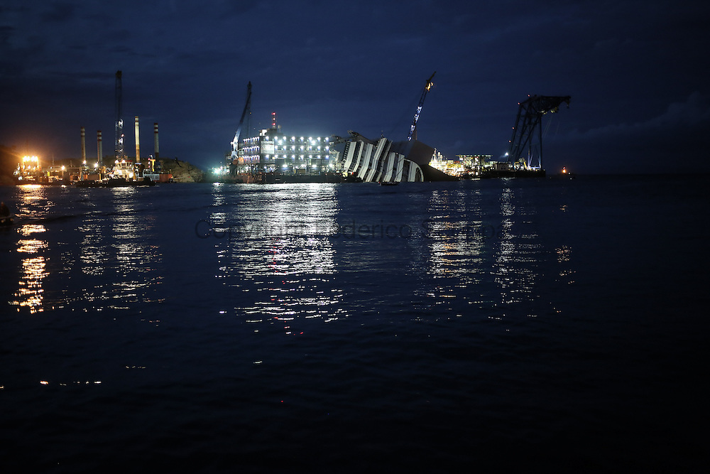 The Costa Concordia yard the eve of the parbulking operation