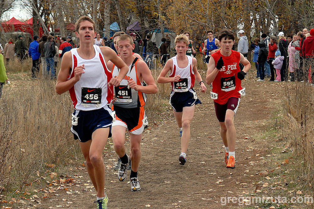 (L to R) Jake DePledge, Michael Schebler, Teagan Brown, and Chris Black. 2010 Nike Cross Northwest Regional XC Championships at Eagle Island State Park on November 13, 2010.