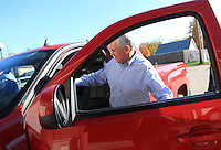 Indiana Republican candidate for Governor Mike Pence climbs into his pick-up truck on the way to another campaign stop in Brownsburg, Ind. Monday Oct. 15. .Chris Bergin/ for The Republic