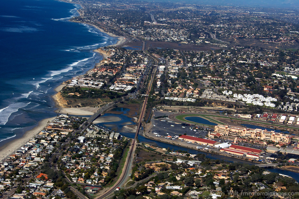USA, California, San Diego. Del Mar aerial over San Dieguito Lagoon and Racetrack.