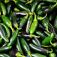 Green Jalapeño Chili Peppers at Farmers Market in Vancouver, Canada
