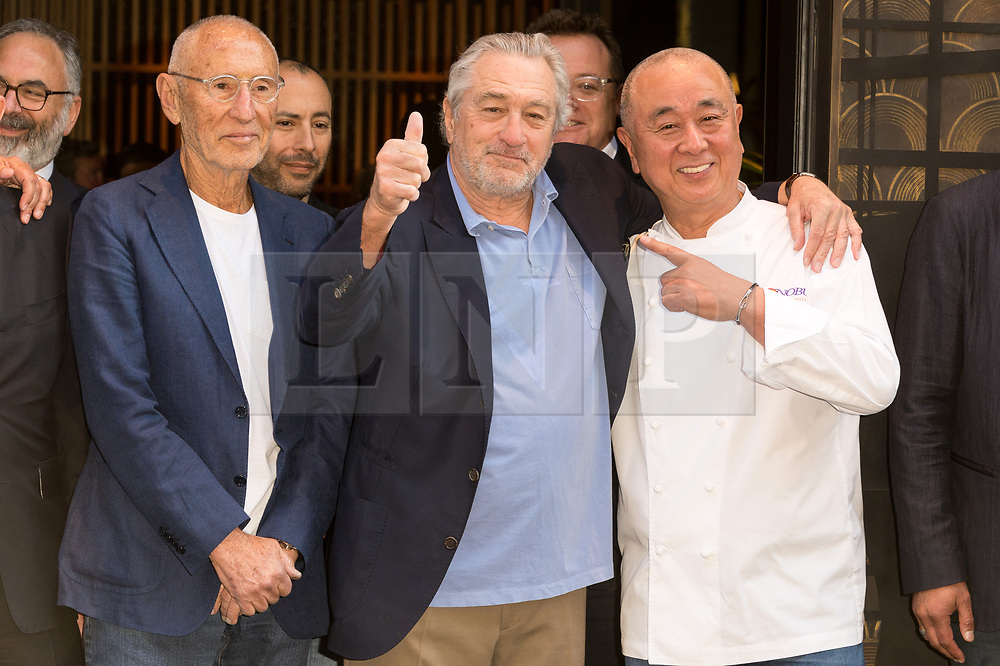 © Licensed to London News Pictures. 15/05/2018. London, UK. MEIR TEPER, Actor ROBERT DE NERO and NOBU MATSUHISA takes part in the ribbon cutting ceremony to launch Nobo London Hotel London in Shoreditch. Photo credit: Ray Tang/LNP